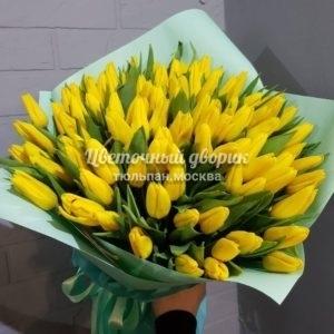 Букет из 101 желтого тюльпана в крафте