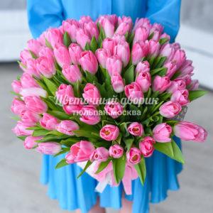 Букет из 101 розового тюльпана Династия