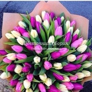 Букет Лиловая нежность из 101 тюльпана