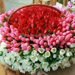 Корзина из 501 тюльпана Микс