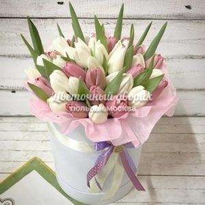 Шляпная коробка из 49 белых и пудровых тюльпанов