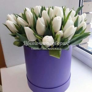 Шляпная коробка из 49 белых тюльпанов