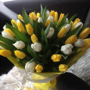 Букет из 49 белых и желтых тюльпанов в крафте