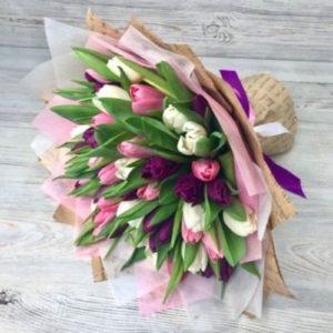 Букет из 49 тюльпанов розово-сиреневый микс