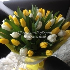 Букет из 49 желтых и белых тюльпанов в крафте