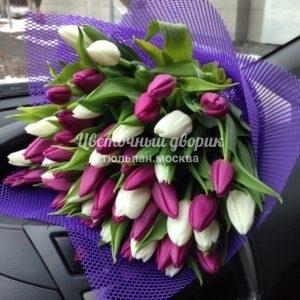 Букет из 35 лиловых и белых тюльпанов в крафте